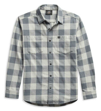 Harley-Davidson Men's #1 Logo Plaid Long Sleeve Woven Shirt - Gray 99051-21VM - Wisconsin Harley-Davidson