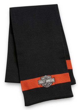 Harley-Davidson Women's Bar & Shield Logo Scarf - Black/Orange 97630-21VW - Wisconsin Harley-Davidson
