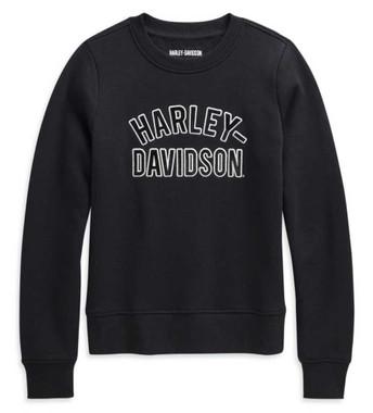 Harley-Davidson Women's Applique Varsity Pullover Sweatshirt, Black 96232-21VW - Wisconsin Harley-Davidson
