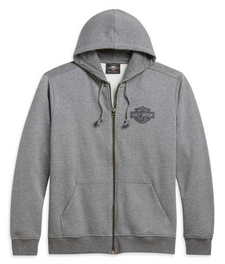 Harley-Davidson Men's Classic Bar & Shield Logo Full-Zip Hoodie, Gray 96250-21VM - Wisconsin Harley-Davidson