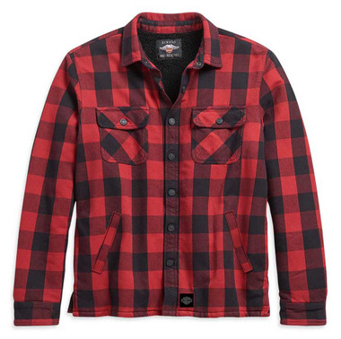Harley-Davidson Men's Sherpa Lined Buffalo Plaid Shirt Jacket, Red 96259-21VM - Wisconsin Harley-Davidson