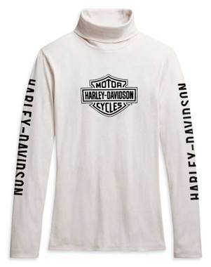 Harley-Davidson Women's Bar & Shield Long Sleeve Turtleneck, White 96308-21VW - Wisconsin Harley-Davidson