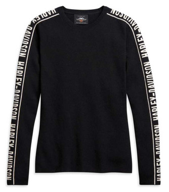 Harley-Davidson Women's Jacquard Long Sleeve Knit Sweater - Black 96185-21VW - Wisconsin Harley-Davidson