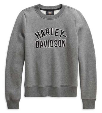 Harley-Davidson Women's Applique Varsity HD Pullover Sweatshirt, Gray 96181-21VW - Wisconsin Harley-Davidson