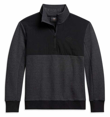 Harley-Davidson Men's Bar & Shield Logo Mockneck Sweater - Black 96064-21VM - Wisconsin Harley-Davidson