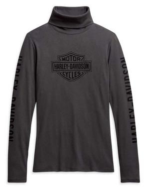 Harley-Davidson Women's Bar & Shield Long Sleeve Turtleneck, Gray 96182-21VW - Wisconsin Harley-Davidson