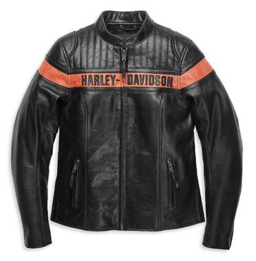 Harley-Davidson Women's Victory Sweep Vintage Leather Jacket, Black 98013-21VW - Wisconsin Harley-Davidson