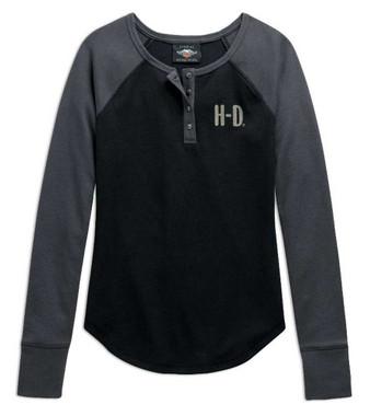 Harley-Davidson Women's H-D Logo Colorblocked Long Sleeve Henley 98764-20VW - Wisconsin Harley-Davidson