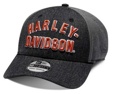 Harley-Davidson Mens Embroidered Graphic 39THIRTY Baseball Cap, Black 98656-20VM - Wisconsin Harley-Davidson