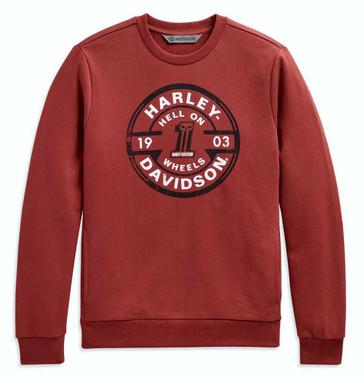 Harley-Davidson Men's Circle Skull Slim Fit Pullover Sweatshirt, Red 98639-20VM - Wisconsin Harley-Davidson