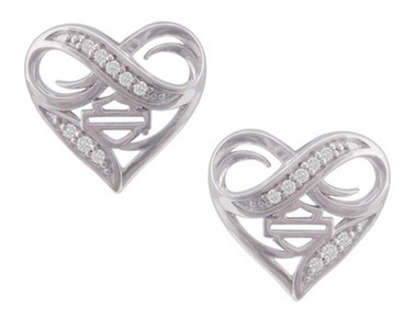 Harley-Davidson Women's Infinity Thorn Heart Post Earrings, Sterling Silver - Wisconsin Harley-Davidson