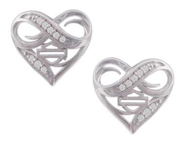 Harley-Davidson Women's Infinity Thorn Heart Post Earrings, Sterling Silver - Wisconsin Harley-Davidson