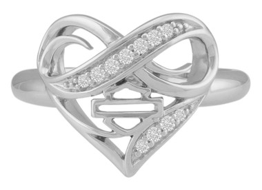 Harley-Davidson Women's Crystal Infinity Thorn Heart Ring, Sterling Silver - Wisconsin Harley-Davidson
