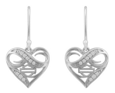 Harley-Davidson Women's Infinity Thorn Heart Drop Earrings, Sterling Silver - Wisconsin Harley-Davidson