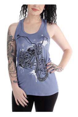 Liberty Wear Women's Twisted Splatter Bike Embellished Sleeveless Tank Top, Blue - Wisconsin Harley-Davidson