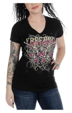 Liberty Wear Women's Embellished Freedom V-Neck Short Sleeve T-Shirt, Black - Wisconsin Harley-Davidson
