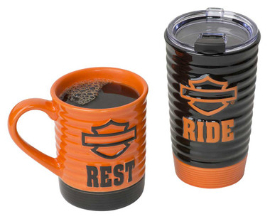 Harley-Davidson Ride & Rest Travel / Coffee Ceramic Mug Set, Black & Orange - Wisconsin Harley-Davidson