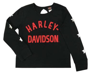 Harley-Davidson Big Girls' H-D Knit Long Sleeve Shirt w/ Back Keyhole - Black - Wisconsin Harley-Davidson