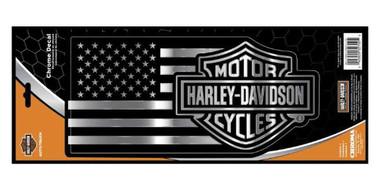 Harley-Davidson Embossed Bar & Shield American Flag Chrome Decal - 6 x 16 in. - Wisconsin Harley-Davidson
