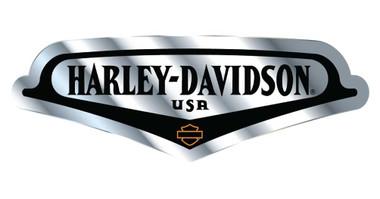 Harley-Davidson Debossed V-Tank Aluminum Decal - Silver & Black - 5 x 7 in. - Wisconsin Harley-Davidson