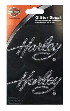 Harley-Davidson Rhinestone Harley Script Logo Glitter Decals - Silver - 3 x 5in. - Wisconsin Harley-Davidson