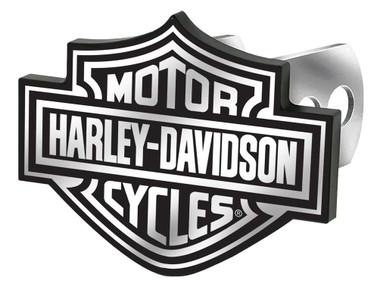 Harley-Davidson Bar & Shield Logo Hitch Plug, Universal Fit - Black & White - Wisconsin Harley-Davidson