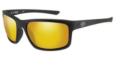 Harley-Davidson Men's Twin Sunglasses, Orange Mirror Lenses & Matte Black Frames - Wisconsin Harley-Davidson