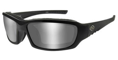 Harley-Davidson Men's GEM Sunglasses, Silver Flash Lenses & Gloss Black Frames - Wisconsin Harley-Davidson