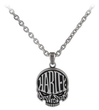 Harley-Davidson Men's Calavera Skull Stainless Steel Necklace - Silver Finish - Wisconsin Harley-Davidson