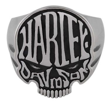 Harley-Davidson Men's Calavera H-D Skull Stainless Steel Ring - Silver Finish - Wisconsin Harley-Davidson