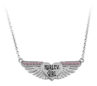 Harley-Davidson Women's Pink Bling Harley Girl Wing Necklace, Sterling Silver - Wisconsin Harley-Davidson