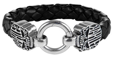 Harley-Davidson Men's Calavera Skull Braided Leather & Stainless Steel Bracelet - Wisconsin Harley-Davidson