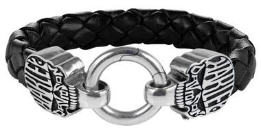 Harley-Davidson Men's Calavera Skull Braided Leather & Stainless Steel Bracelet - Wisconsin Harley-Davidson