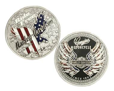 Harley-Davidson Ride Free Eagle Flag Challenge Coin, 1.75 in. Silver 8009021 - Wisconsin Harley-Davidson
