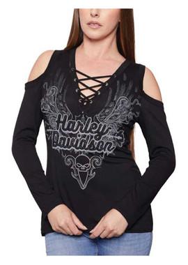 Harley-Davidson Women's Embellished Cold Shoulder Long Sleeve Top - Black - Wisconsin Harley-Davidson
