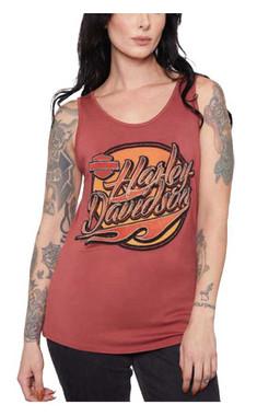 Harley-Davidson Women's Embellished Blaze H-D Scoop Neck Sleeveless Tank Top - Wisconsin Harley-Davidson