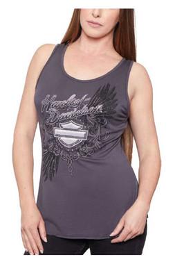 Harley-Davidson Women's Embellished Feathers Scoop Neck Sleeveless Tank Top - Wisconsin Harley-Davidson