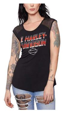 Harley-Davidson Women's Embellished H-D Mesh Shoulders & Back Sleeveless Tee - Wisconsin Harley-Davidson