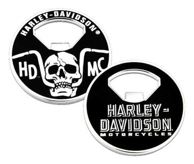 Harley-Davidson Handlebar Skull Metal Challenge Coin Bottle Opener - 2 inch. - Wisconsin Harley-Davidson