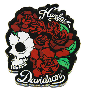 Harley-Davidson Cut-Out Skull & Roses Hard Acrylic Magnet - 3 x 2.5 inches - Wisconsin Harley-Davidson