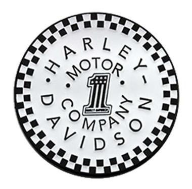 Harley-Davidson 1.5 inch. #1 Checkered Motor Metal Pin, Gloss White Finish - Wisconsin Harley-Davidson