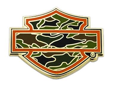 Harley-Davidson 1.5 in. Cutout Camo Bar & Shield Metal Pin, Gold Finish - Wisconsin Harley-Davidson