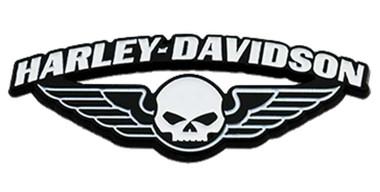 Harley-Davidson 1.75 in. Winged Skull Metal Pin, Black & White Finishes - Wisconsin Harley-Davidson