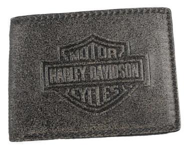 Harley-Davidson Men's Burnished Embossed Billfold Leather Wallet w/ Removable ID - Wisconsin Harley-Davidson