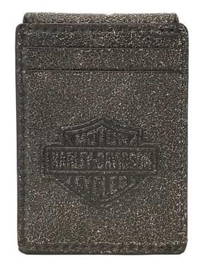 Harley-Davidson Men's Burnished Embossed Magnetic Leather Cash Clip/Card Holder - Wisconsin Harley-Davidson