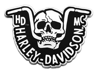Harley-Davidson 1.5 inch. Handlebar Skull Metal Pin, Silver Nickel Finish - Wisconsin Harley-Davidson