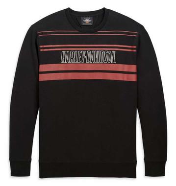 Harley-Davidson Men's Front Stripe Pullover Sweatshirt, Black 98671-20VM - Wisconsin Harley-Davidson