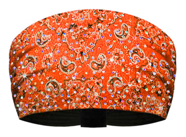 That's A Wrap Women's Blinged Silver Foil Bandana Knotty Band - Orange KB1637R - Wisconsin Harley-Davidson