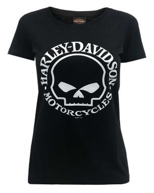 Harley-Davidson Women's Willie G Skull Logo Short Sleeve Crew T-Shirt - Black - Wisconsin Harley-Davidson