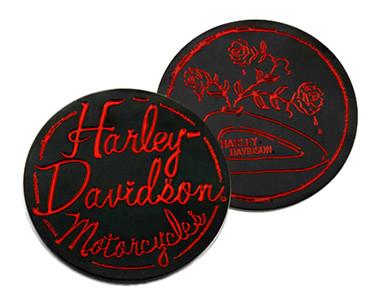 Harley-Davidson Engraved Roses Tank Metal Challenge Coin, 1.75 in. - Black/Red - Wisconsin Harley-Davidson